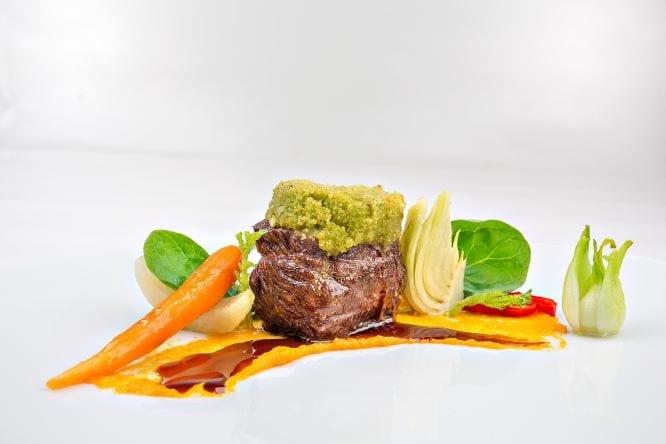 Fleisch Gemüse gebraten Hotel Sonnengarten