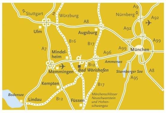 Anfahrtskizze Hotel Sonnengarten Bad Wörishofen